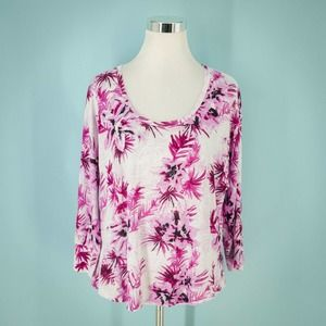 Tommy Bahama L Linen Floral 3/4 Sleeve Top